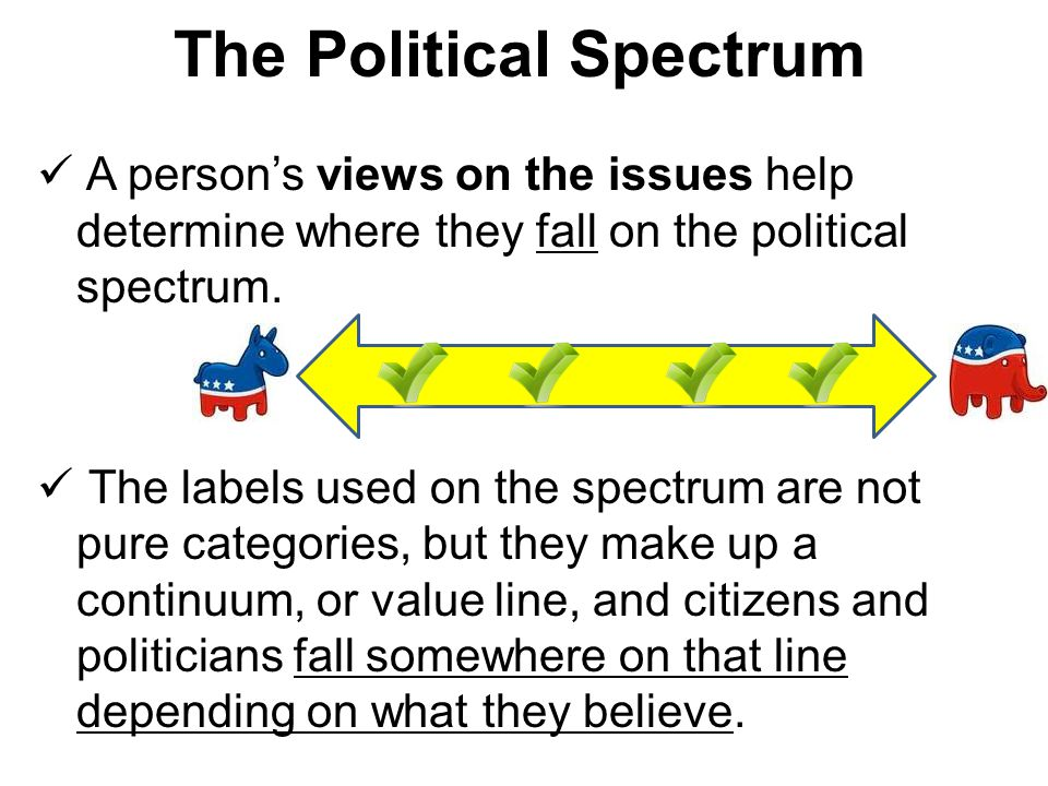 A person's views on the issues help determine where they fall on the political spectrum. The labels used on the spectrum are not pure categories, but