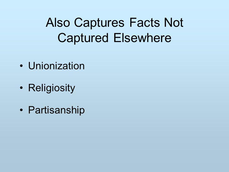 Also Captures Facts Not Captured Elsewhere Unionization Religiosity Partisanship