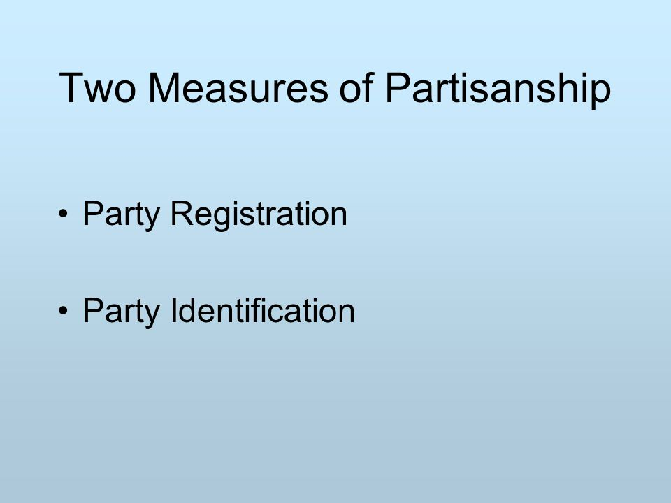 Two Measures of Partisanship Party Registration Party Identification