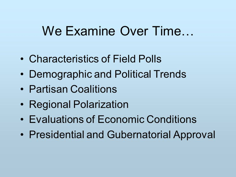 We Examine Over Time… Characteristics of Field Polls Demographic and Political Trends Partisan Coalitions Regional Polarization Evaluations of Economic Conditions Presidential and Gubernatorial Approval