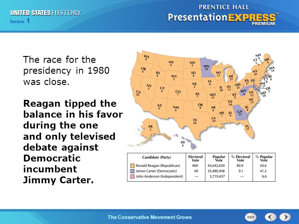 Section 1 The Conservative Movement Grows The race for the presidency in 1980 was close. Reagan tipped the balance in his favor during the one and onl