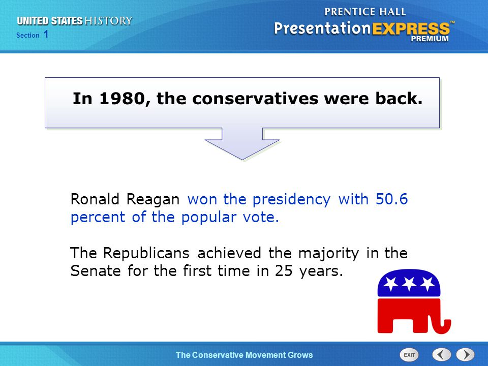 Section 1 The Conservative Movement Grows In 1980, the conservatives were back.