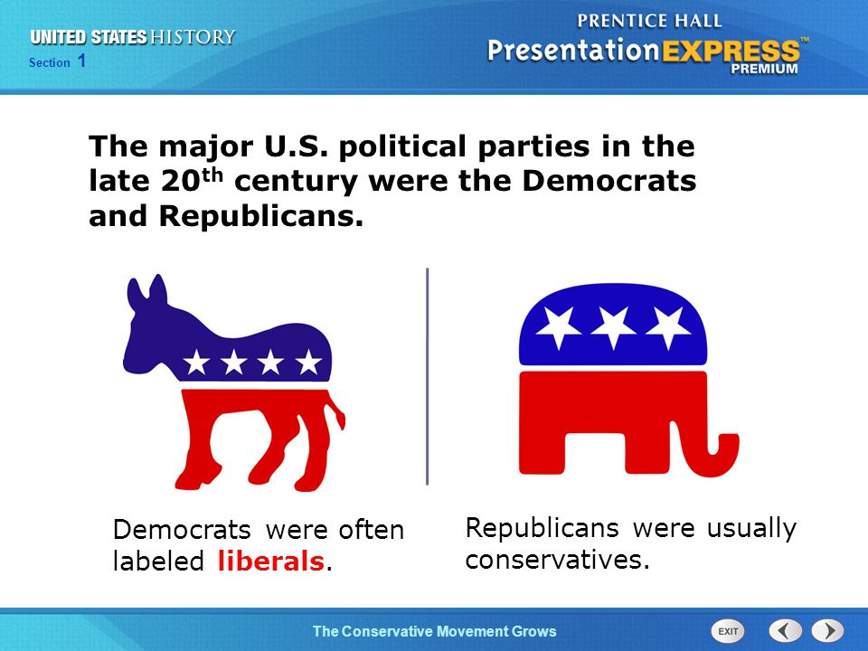 Section 1 The Conservative Movement Grows The major U.S. political parties in the late 20 th century were the Democrats and Republicans. Democrats wer