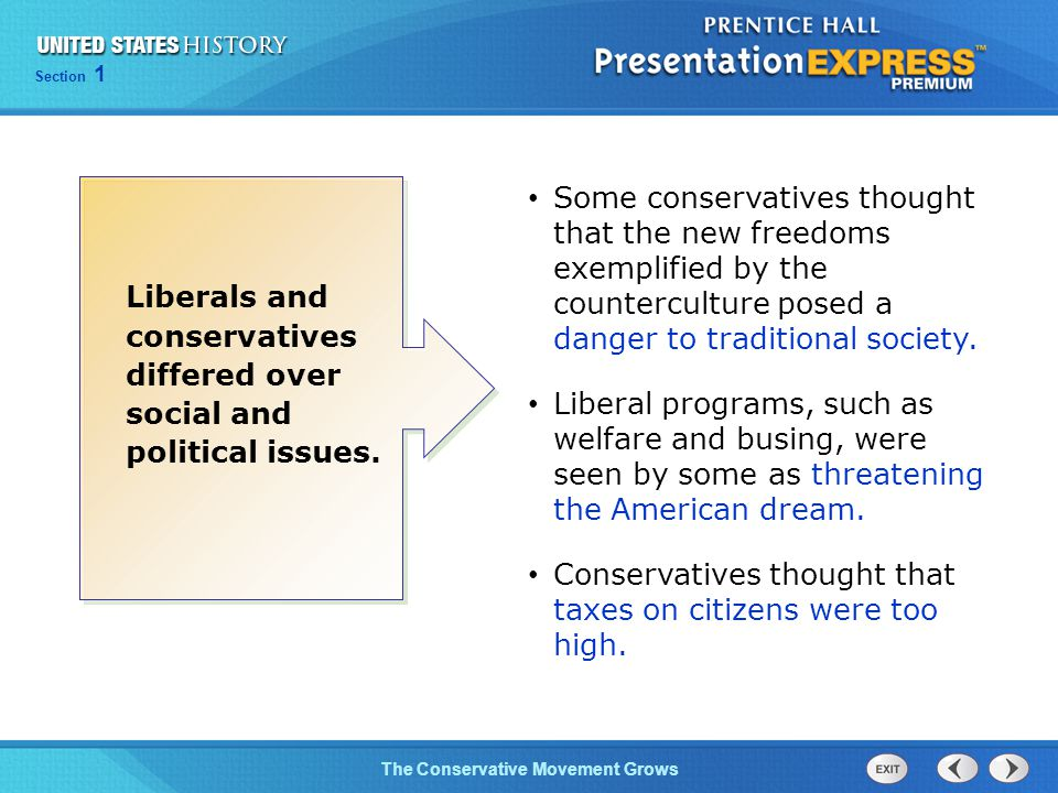 Section 1 The Conservative Movement Grows Some conservatives thought that the new freedoms exemplified by the counterculture posed a danger to traditional society.