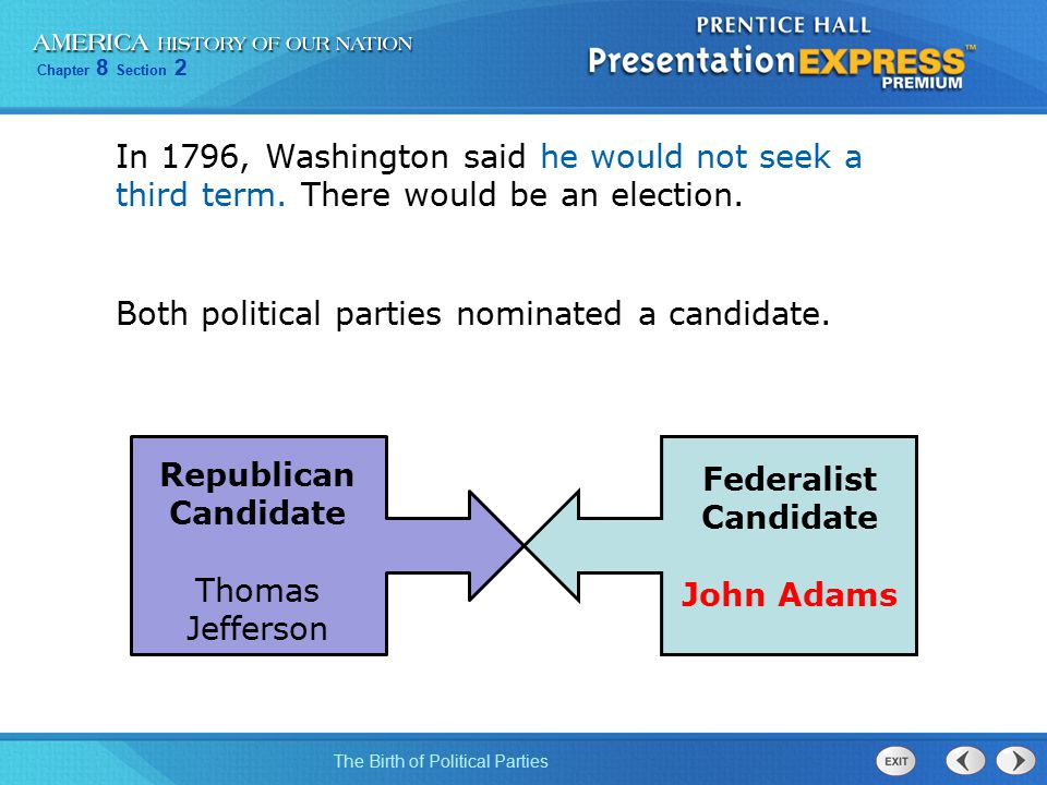 Chapter 8 Section 2 The Birth of Political Parties In 1796, Washington said he would not seek a third term. There would be an election. Republican Can