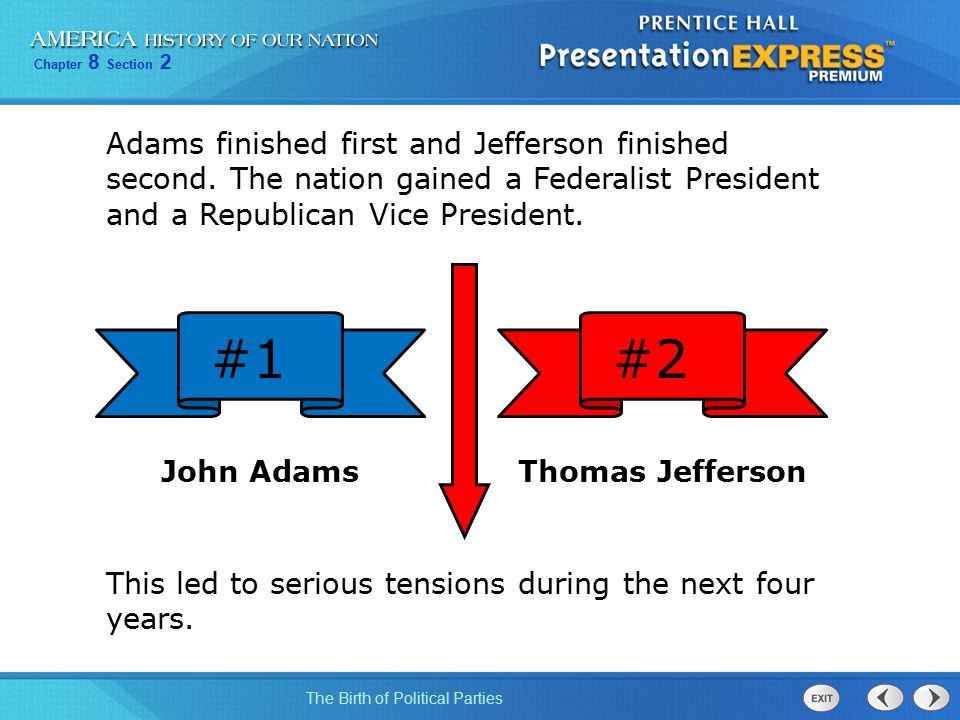 Chapter 8 Section 2 The Birth of Political Parties Adams finished first and Jefferson finished second. The nation gained a Federalist President and a