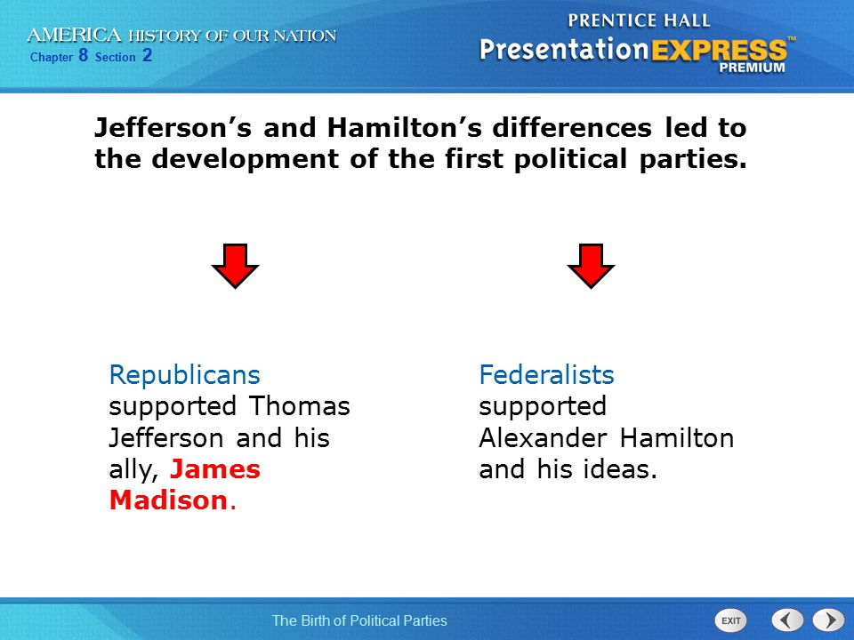 Chapter 8 Section 2 The Birth of Political Parties Jefferson's and Hamilton's differences led to the development of the first political parties. Repub