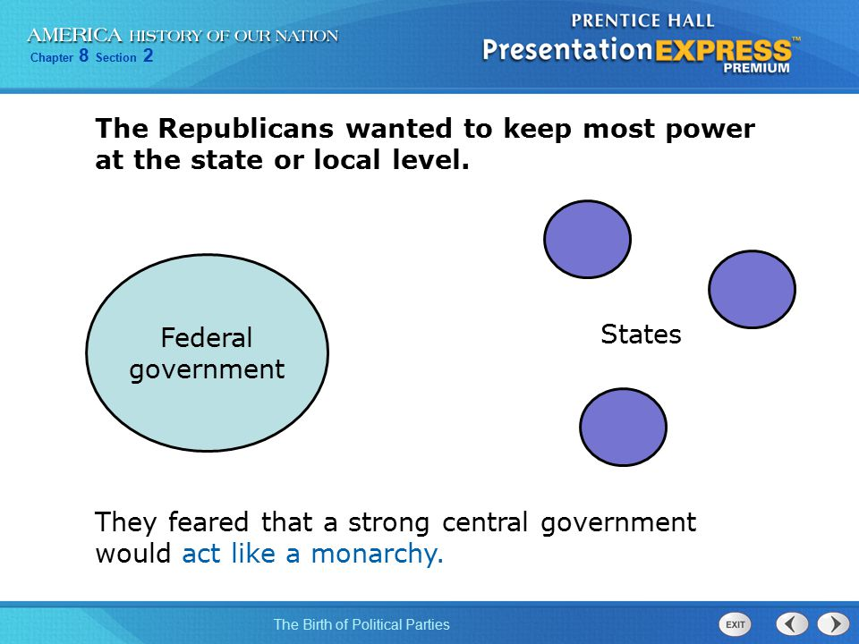 Chapter 8 Section 2 The Birth of Political Parties The Republicans wanted to keep most power at the state or local level. They feared that a strong ce