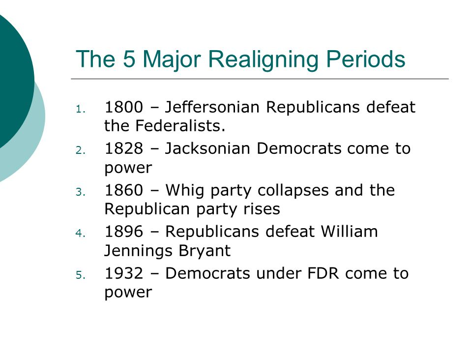 The 5 Major Realigning Periods 1. 1800 – Jeffersonian Republicans defeat the Federalists.