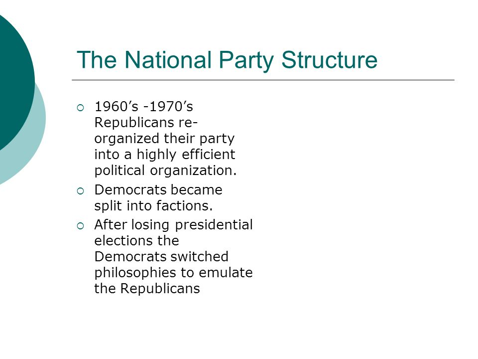 The National Party Structure  1960's -1970's Republicans re- organized their party into a highly efficient political organization.