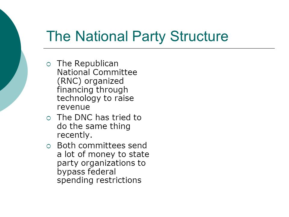 The National Party Structure  The Republican National Committee (RNC) organized financing through technology to raise revenue  The DNC has tried to do the same thing recently.