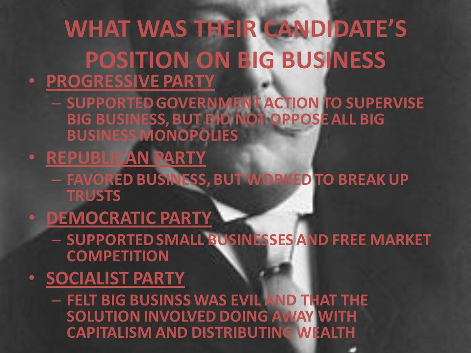 WHAT WAS THEIR CANDIDATE'S POSITION ON BIG BUSINESS PROGRESSIVE PARTY – SUPPORTED GOVERNMENT ACTION TO SUPERVISE BIG BUSINESS, BUT DID NOT OPPOSE ALL