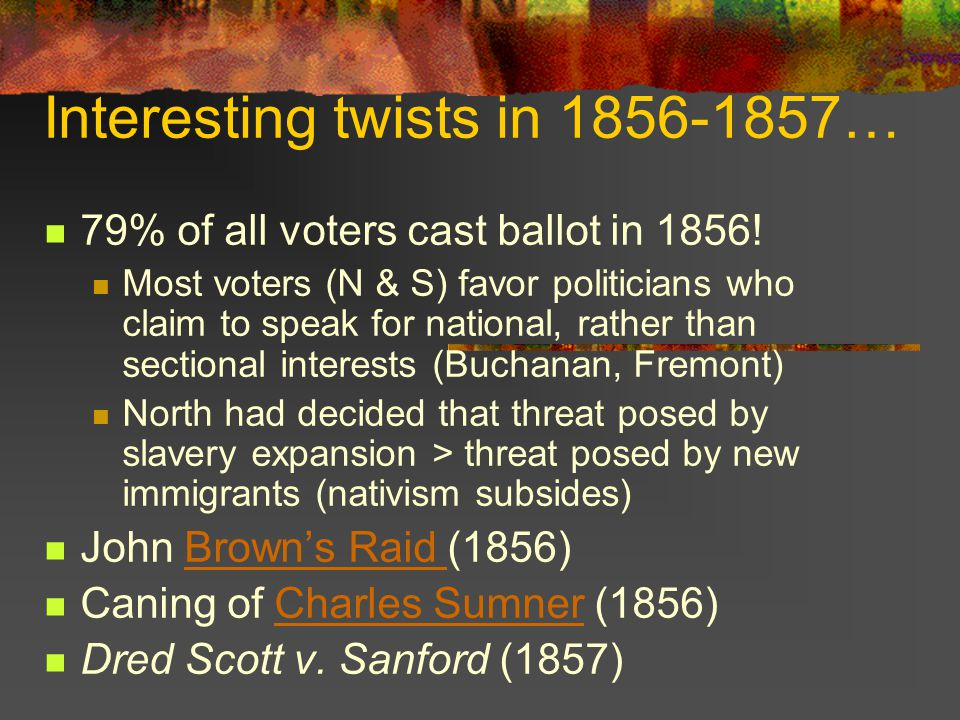 Interesting twists in 1856-1857… 79% of all voters cast ballot in 1856.