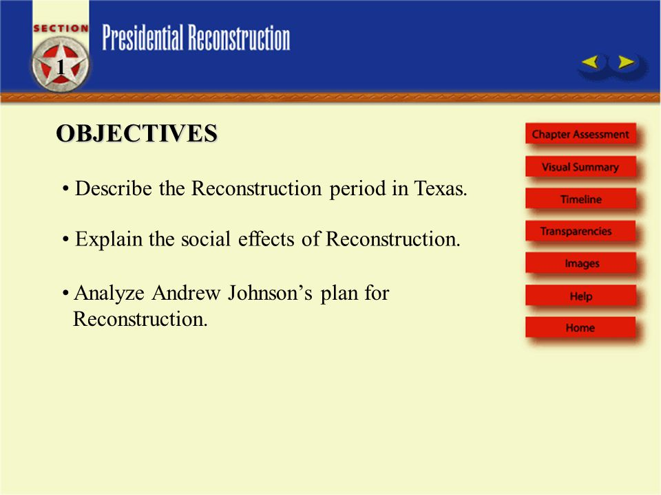 OBJECTIVES Describe the Reconstruction period in Texas.