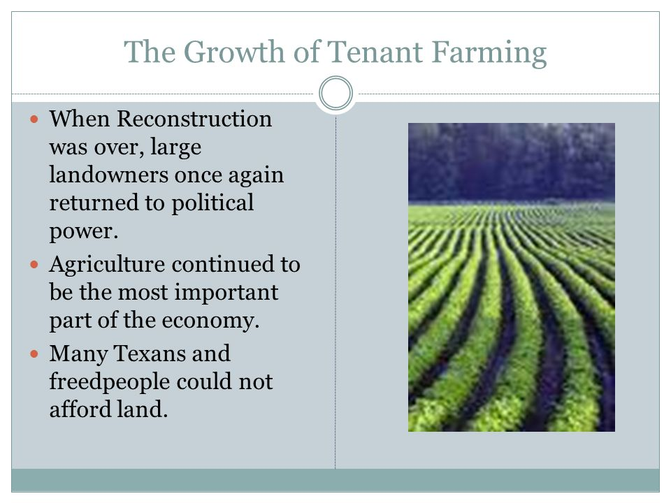 The Growth of Tenant Farming When Reconstruction was over, large landowners once again returned to political power. Agriculture continued to be the mo