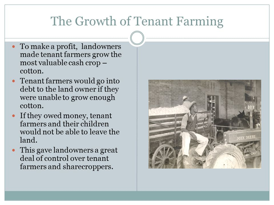 The Growth of Tenant Farming To make a profit, landowners made tenant farmers grow the most valuable cash crop – cotton. Tenant farmers would go into