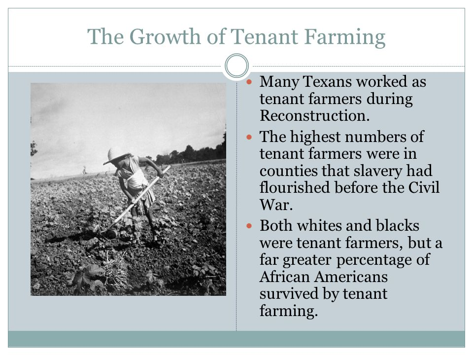 The Growth of Tenant Farming Many Texans worked as tenant farmers during Reconstruction. The highest numbers of tenant farmers were in counties that s