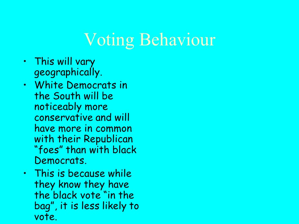 Voting Behaviour This will vary geographically.