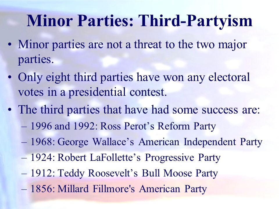 Minor Parties: Third-Partyism Minor parties are not a threat to the two major parties. Only eight third parties have won any electoral votes in a pres