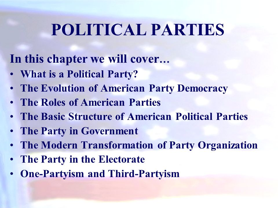 A political party is a group of voters, activists, candidates, and office holders who identify with a party label and seek to elect individuals to public office.
