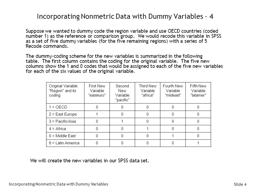 Slide 4 Incorporating Nonmetric Data with Dummy Variables - 4 Incorporating Nonmetric Data with Dummy Variables Suppose we wanted to dummy code the region variable and use OECD countries (coded number 1) as the reference or comparison group.