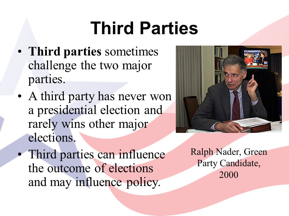 Third Parties Third parties sometimes challenge the two major parties. A third party has never won a presidential election and rarely wins other major
