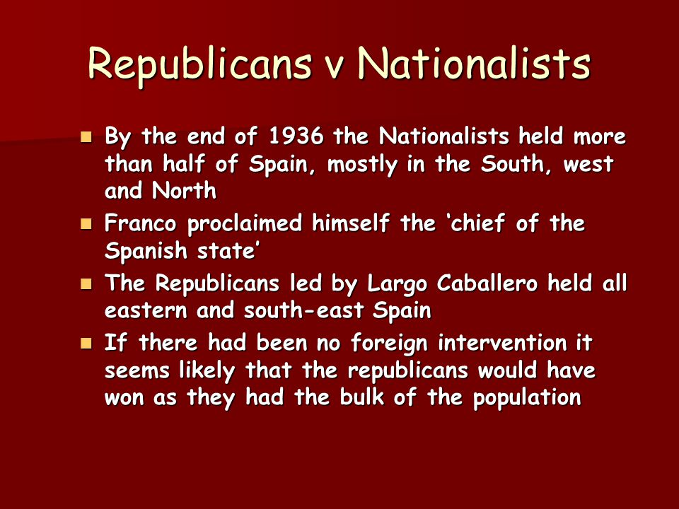 League of Nations Republicans claimed non-intervention was illegal since it denied help to a government recognised by the league, while failing to stop Italian and German aggression Republicans claimed non-intervention was illegal since it denied help to a government recognised by the league, while failing to stop Italian and German aggression League however was now a spent force, none of the major powers even pretended to operate through it League however was now a spent force, none of the major powers even pretended to operate through it
