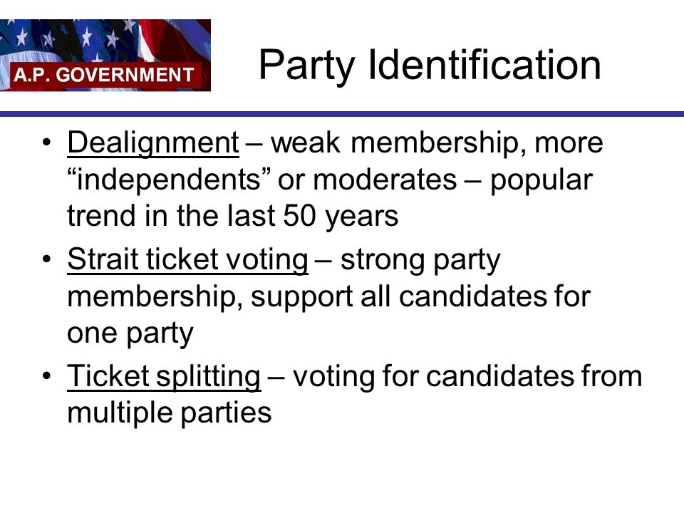 Party Identification Dealignment – weak membership, more independents or moderates – popular trend in the last 50 years Strait ticket voting – strong party membership, support all candidates for one party Ticket splitting – voting for candidates from multiple parties