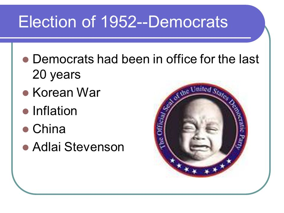 Election of 1952--Republicans Republicans chose Eisenhower Nickname Promised to end the war in Korea Won the Presidency easily