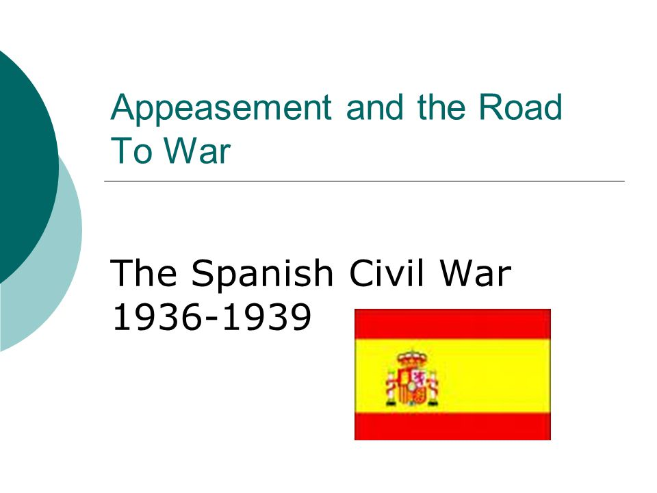 Appeasement and the Road To War The Spanish Civil War 1936-1939