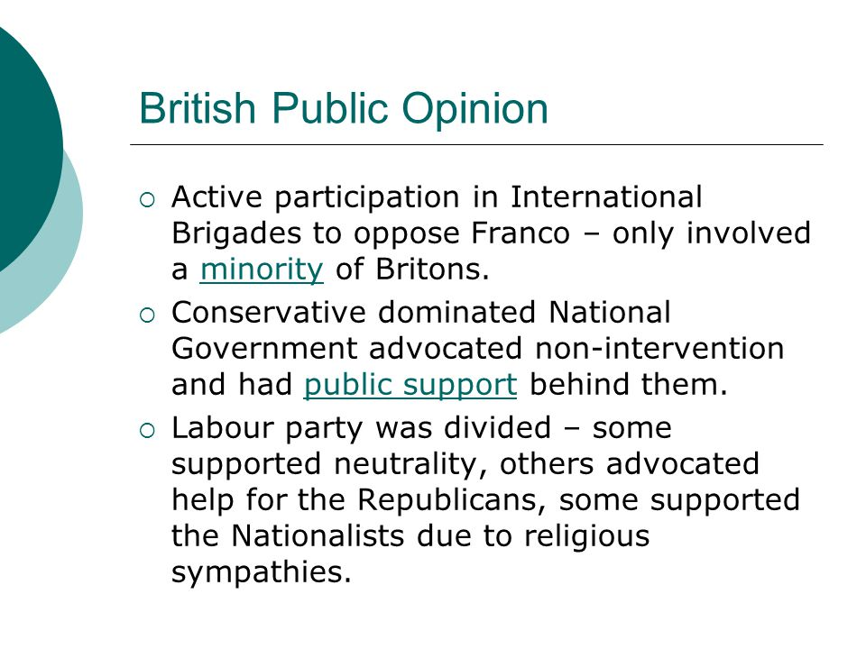 British Public Opinion  Active participation in International Brigades to oppose Franco – only involved a minority of Britons.  Conservative dominat