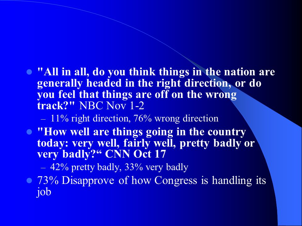 All in all, do you think things in the nation are generally headed in the right direction, or do you feel that things are off on the wrong track NBC Nov 1-2 – 11% right direction, 76% wrong direction How well are things going in the country today: very well, fairly well, pretty badly or very badly CNN Oct 17 – 42% pretty badly, 33% very badly 73% Disapprove of how Congress is handling its job
