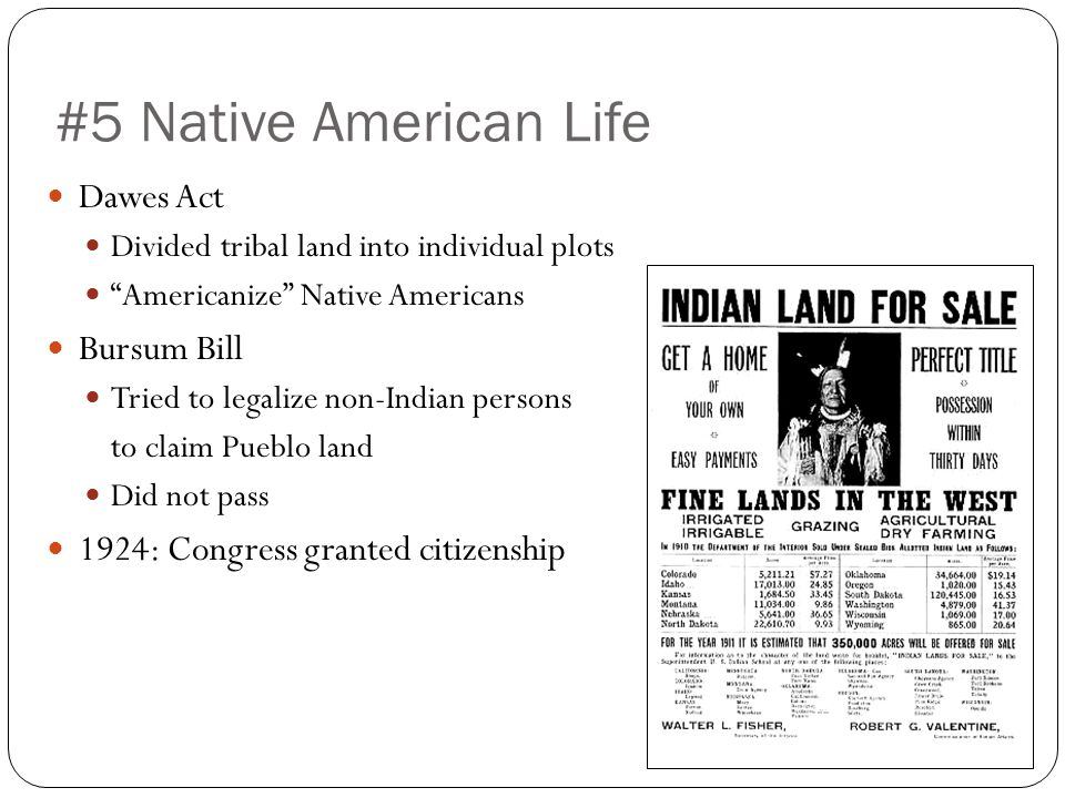 #5 Native American Life Dawes Act Divided tribal land into individual plots Americanize Native Americans Bursum Bill Tried to legalize non-Indian persons to claim Pueblo land Did not pass 1924: Congress granted citizenship