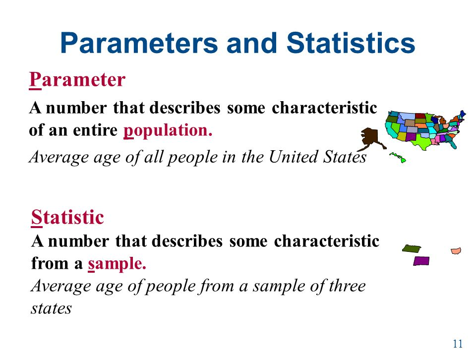 Parameters and Statistics Parameter A number that describes some characteristic of an entire population. Average age of all people in the United State