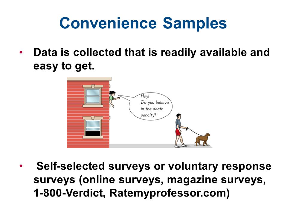 Convenience Samples Data is collected that is readily available and easy to get. Self-selected surveys or voluntary response surveys (online surveys,