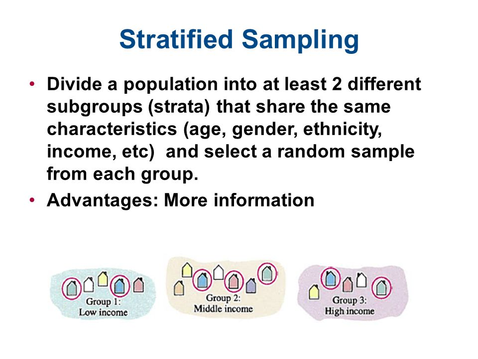 Stratified Sampling Divide a population into at least 2 different subgroups (strata) that share the same characteristics (age, gender, ethnicity, inco
