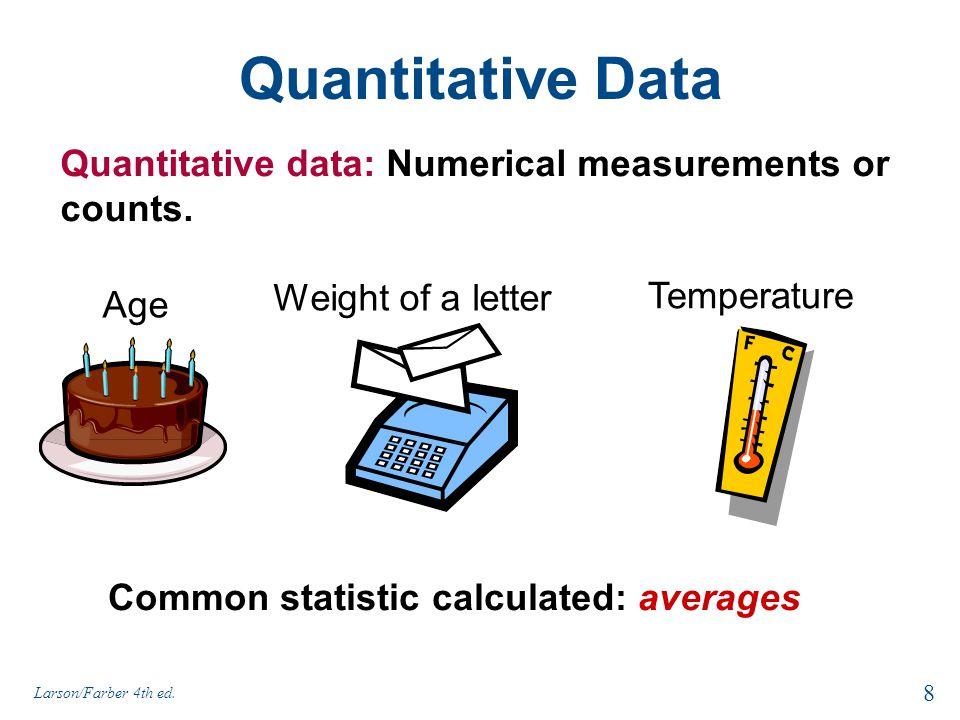 Quantitative Data Quantitative data: Numerical measurements or counts. Age Weight of a letter Temperature 8 Larson/Farber 4th ed. Common statistic cal