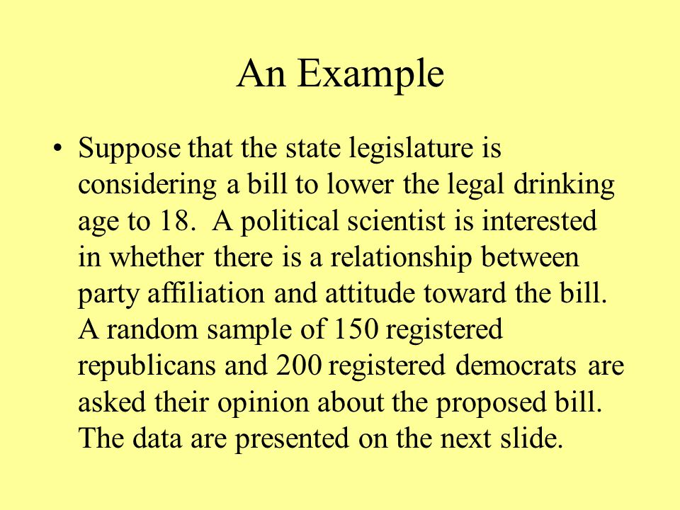 An Example Suppose that the state legislature is considering a bill to lower the legal drinking age to 18.