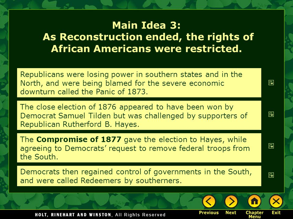Main Idea 3: As Reconstruction ended, the rights of African Americans were restricted. Republicans were losing power in southern states and in the Nor