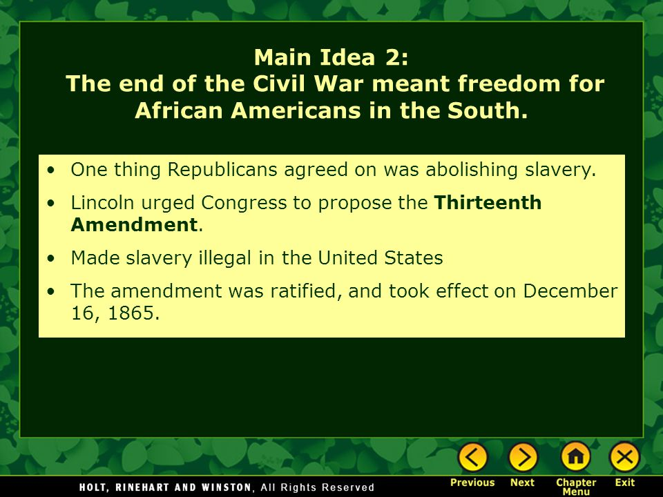 One thing Republicans agreed on was abolishing slavery.