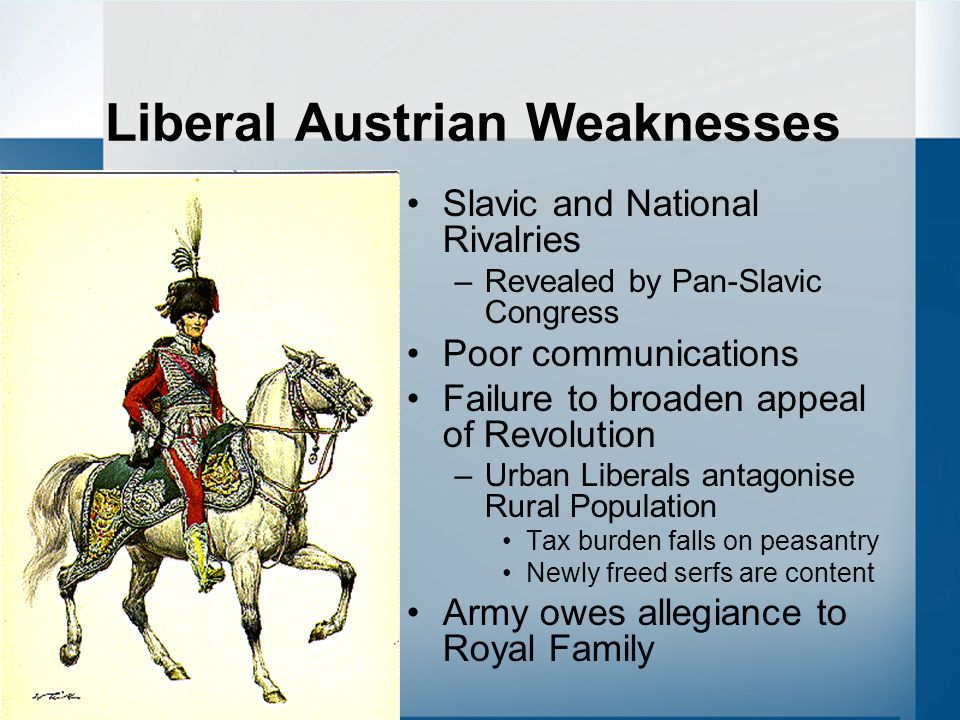 Liberal Austrian Weaknesses Slavic and National Rivalries –Revealed by Pan-Slavic Congress Poor communications Failure to broaden appeal of Revolution