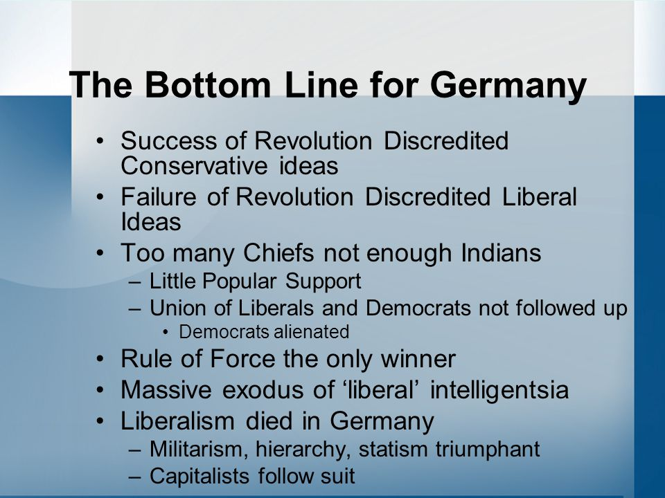 The Bottom Line for Germany Success of Revolution Discredited Conservative ideas Failure of Revolution Discredited Liberal Ideas Too many Chiefs not enough Indians –Little Popular Support –Union of Liberals and Democrats not followed up Democrats alienated Rule of Force the only winner Massive exodus of 'liberal' intelligentsia Liberalism died in Germany –Militarism, hierarchy, statism triumphant –Capitalists follow suit