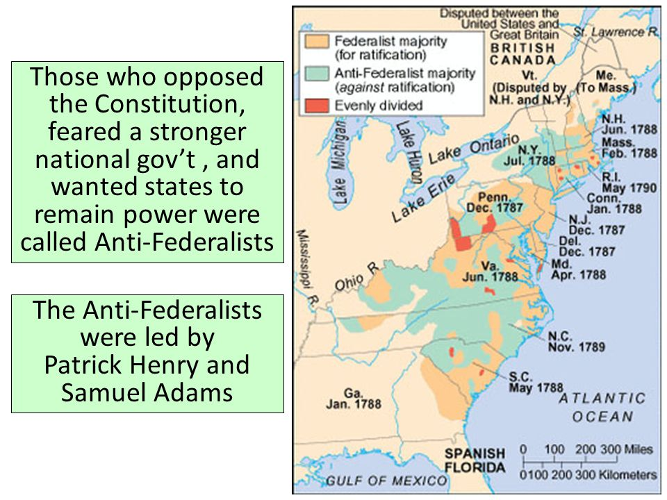 Those who opposed the Constitution, feared a stronger national gov't, and wanted states to remain power were called Anti-Federalists The Anti-Federali