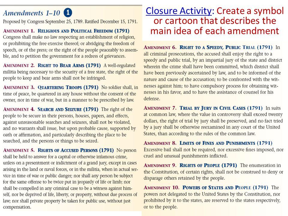 Closure Activity: Create a symbol or cartoon that describes the main idea of each amendment