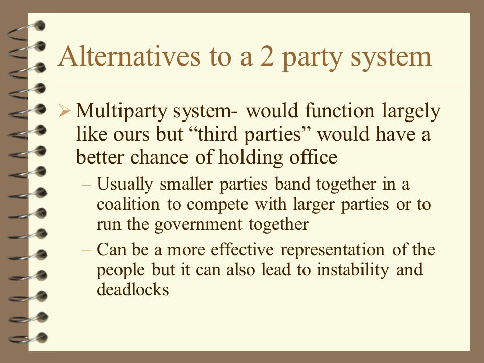 Two Party System  In America we have a 2 party system  That does not mean that only 2 parties exist but that only 2 parties dominate politics in Ame