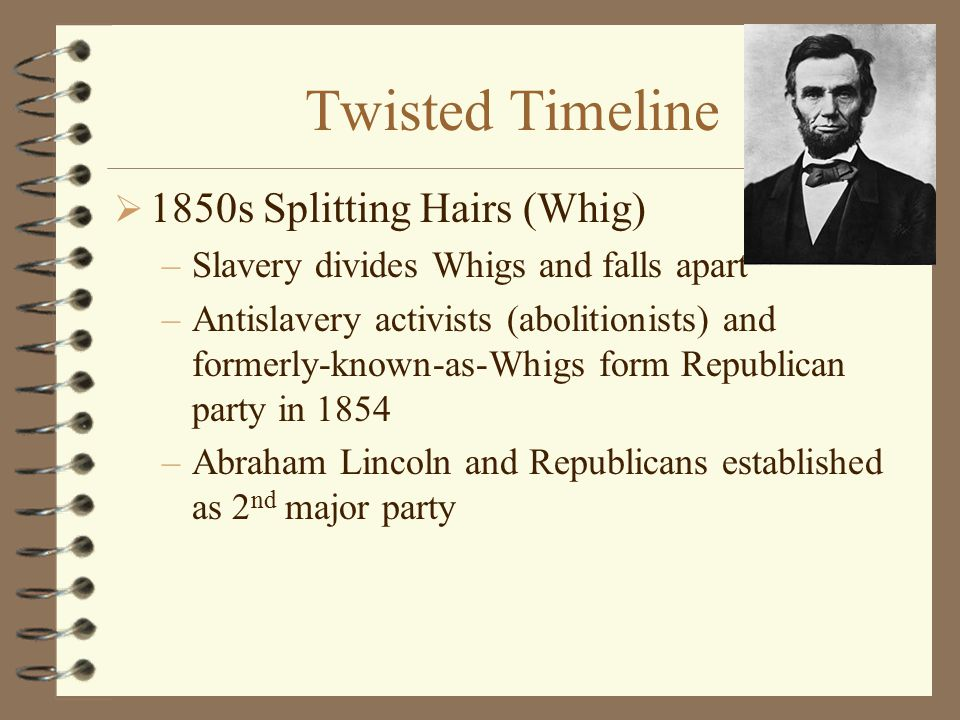 Twisted Timeline  1828 –Jackson's revenge = Democrat party –Whig party = Jackson's enemies