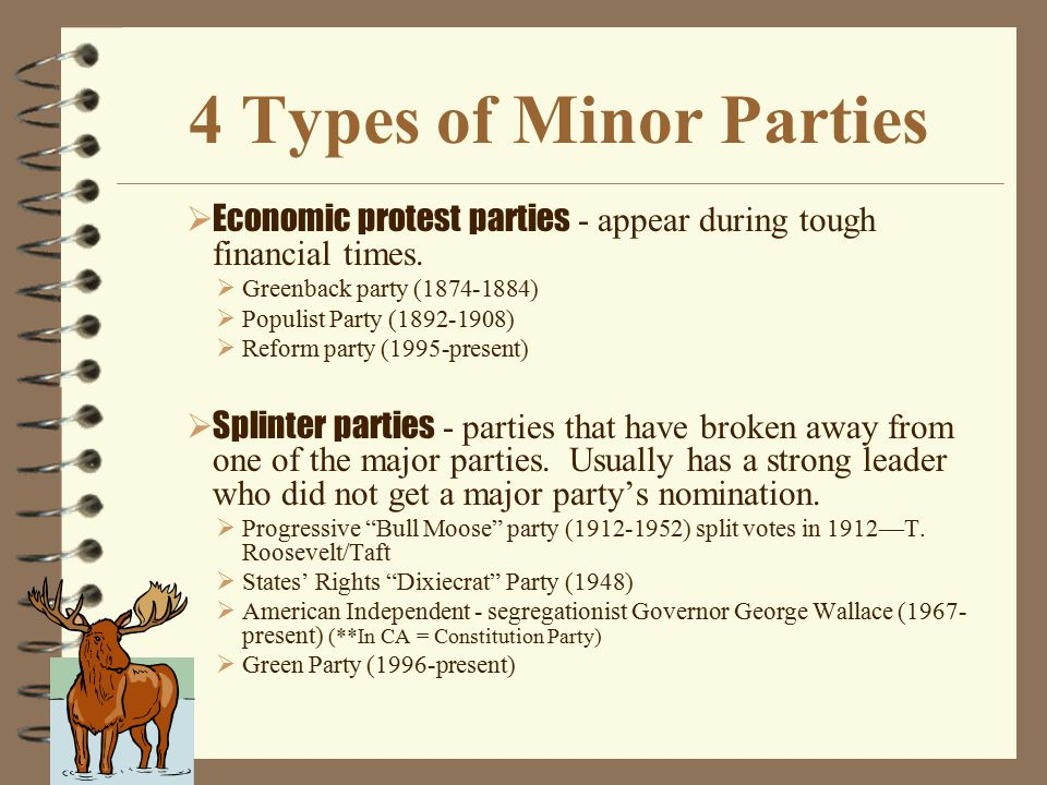 4 Types of Minor Parties  Ideological parties -based on certain social, economic, or political ideas. They tend to stay around for a long time.  Soc