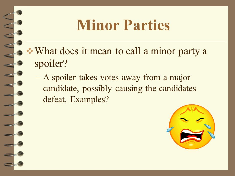4 Types of Minor Parties  Economic protest parties - appear during tough financial times.  Greenback party (1874-1884)  Populist Party (1892-1908)
