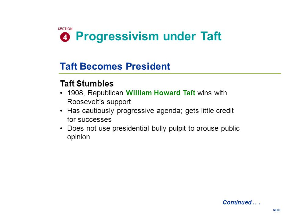 ProgressivesConservatives 1.Why did they support or oppose Taft.