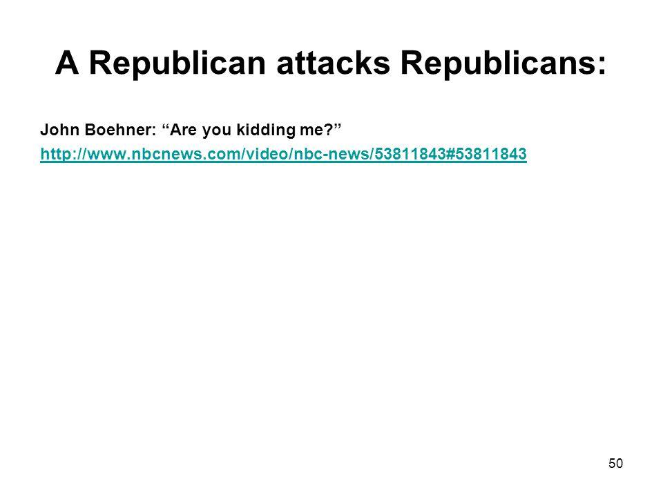 A Republican attacks Republicans: John Boehner: Are you kidding me http://www.nbcnews.com/video/nbc-news/53811843#53811843 50